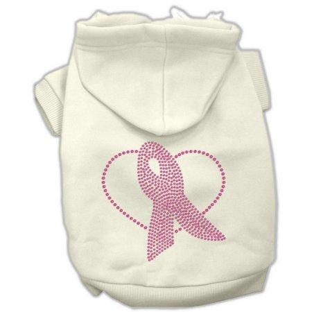 Mirage Pet Products 54-64 XLCR Pink Ribbon Rhinestone Hoodies Cream XL - 16