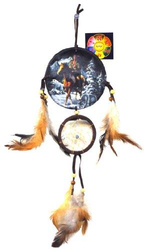 Indian Warrior on Hourse Canvas Leather Tassel Native American Dreamcatcher, Free Copyrighted Tibetan Mantra Fridge Magnet