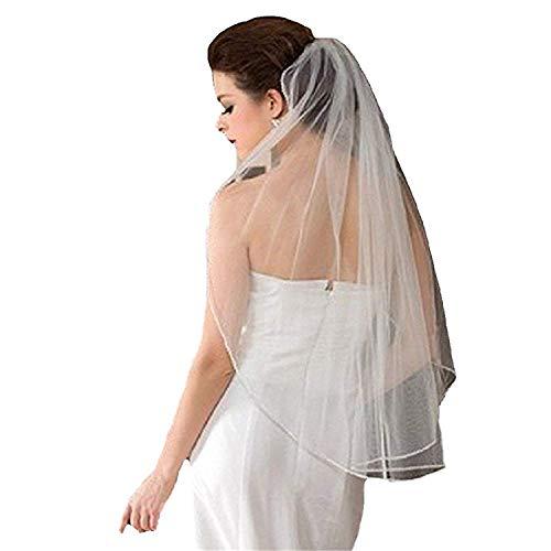 JINGDRESS Short Bridal Veils with Comb 1T Rhinestone Elbow Wedding - Rhinestones Veil