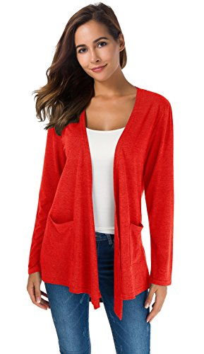 TownCat Cardigans for Women Loose Casual Long Sleeved Open Front Breathable Cardigans with Pocket