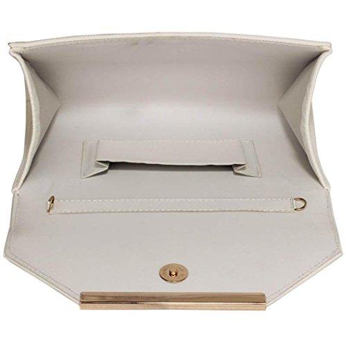 main Gris Faux féminin Sac qualité Enveloppe Bourse de embrayage à haute cuir Blanc Embrayage Embrayage CW293 à style LeahWard wZqEfxdzw