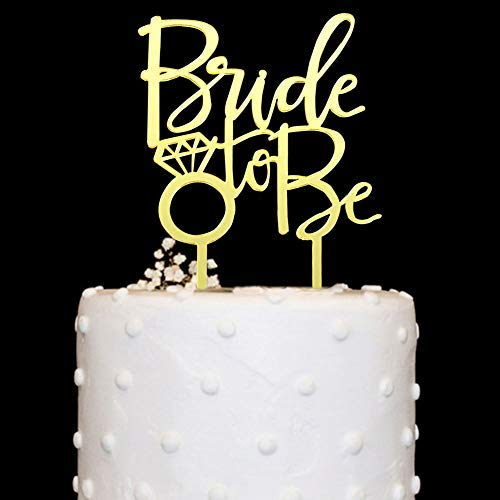 Bride Cake Topper - Bride to Be with Diamond Ring Acrylic Cake Topper Gold Mirror for Bridal Shower, Wedding, Engagement Party Decorations