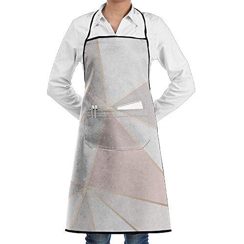 Kitchen Bib Apron Neck Waist Tie Center Kangaroo Pocket Geometry Shape Waterproof