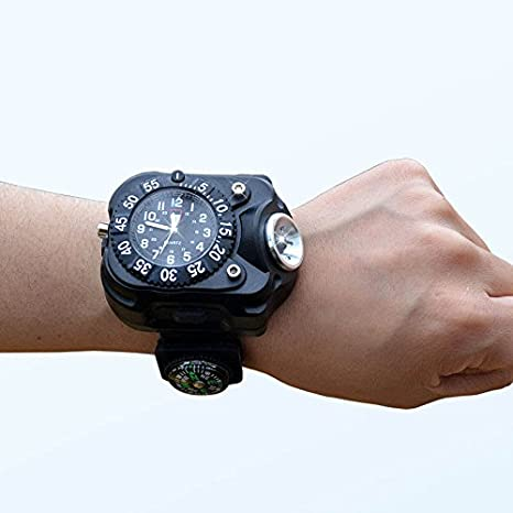 Fashion 3 In 1 Bright Watch Light Flashlight With Compass Outdoor Sports Mens Led Rechargeable Wrist Watch Lamp Torch Lights & Lighting