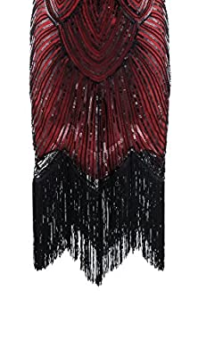 Shelly Women's Vintage 1920s Sequin Beaded Cocktail Flapper Fringed Great Gastby Inspired Dresses Plus Size