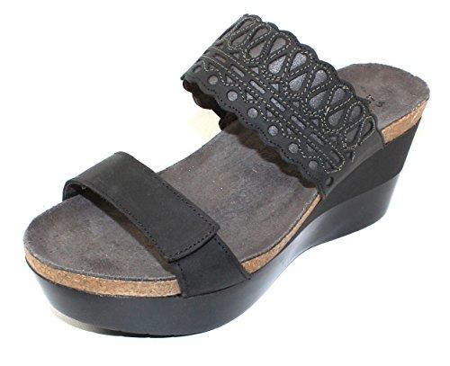 NAOT Women's Rise Sandals, Black, Leather, Microfiber, Cork, Latex, 39 M EU, 8-8.5 M