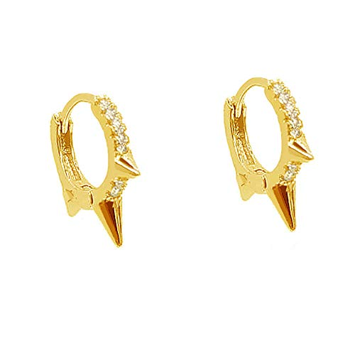 Punk Spikes Studed Mini CZ Hoop Earrings for Women Teen Girls Men S925 Sterling Silver Charms Huggie Hoops Cartilage Stud Tragus Helix Pave Crystal Earrings Hypoallergenic Rock Fashion (gold plated)