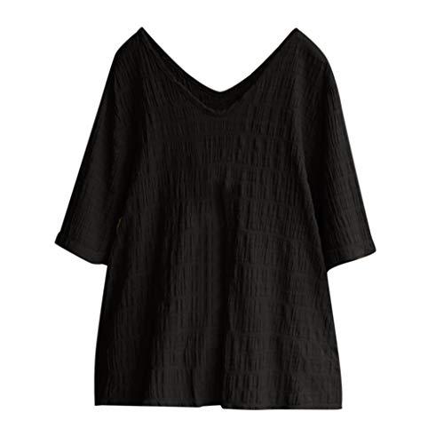 QIQIU Womens New Cotton Linen Tops Vintage Solid Loose V-Neck Short Sleeve Loose Summer Soft Blouses T-Shirt Black