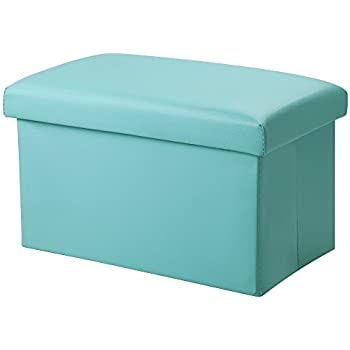 """Inoutdoorkit FSL01 Foldable Leather Storage Ottoman Bench Footrest Stool, Coffee Table Cube For Home, Office, Garden, Traveling, 16""""x10""""x10"""" Folding Organizer Seat Prefect For Kids (Blue)"""