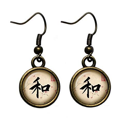Japanese Calligraphy Kanji Peace Bronze Earrings