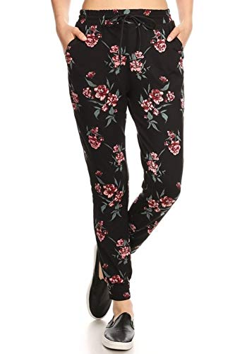 - ShoSho Womens Joggers Track Pants Super Soft Sweatpants with Shoe Lace Tie Floral Print Pink Small