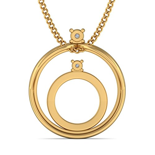 Or jaune 14 K 0,07 ct tw Round-cut-diamond (IJ | SI) Pendentif