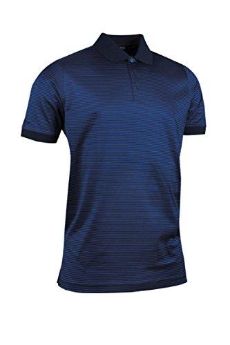 Glenmuir Mens MSL7371 Rib Cuff Narrow Stripe Mercerized Cotton Golf Polo Shirt Navy/Ascot Blue XXL