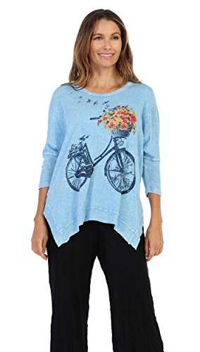 Jess & Jane - Bike Ride, Mineral Washed, Cotton Slub Dolman Sleeve Rib Detail (Jane Cotton Printed Top)