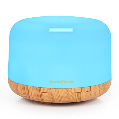 : InnoGear 500ml Aromatherapy Essential Oil Diffuser Cool Mist Humidifier Waterless Auto Shut-off with 4 Timers and 7 LED Color Changing Lights