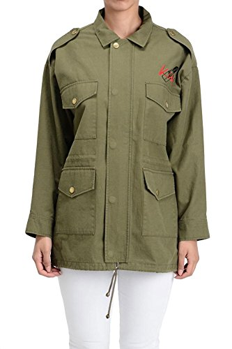G-Style USA Women's Embroidered Collared Military Jacket RJK452 - Olive - X-Large - (Embroidered Anorak Jacket)
