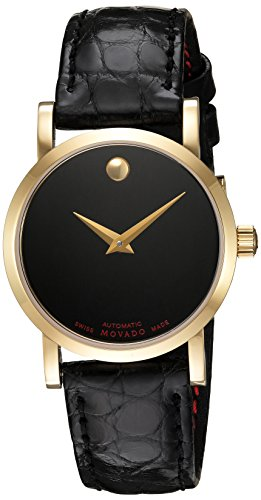 Movado Women's Swiss Automatic Gold-Tone and Leather Casual Watch, Color:Black (Model: (Movado Automatic Watch)