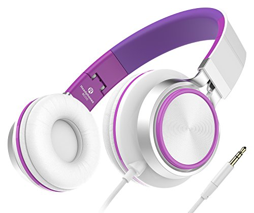 Sound Intone MS200, faltbarer On-Ear Hi-Fi Kopfhörer, 3.5mm Klinkenstecker(Weiß/Violett)