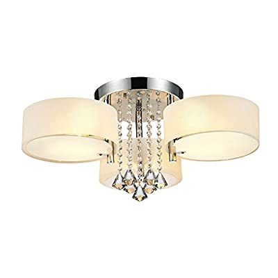 DINGGU™ Flush Mounted 3 Light Chrome Finish Modern Chandelier Ceiling Light Fixtures for Bedroom,Living Room,Dinng Room