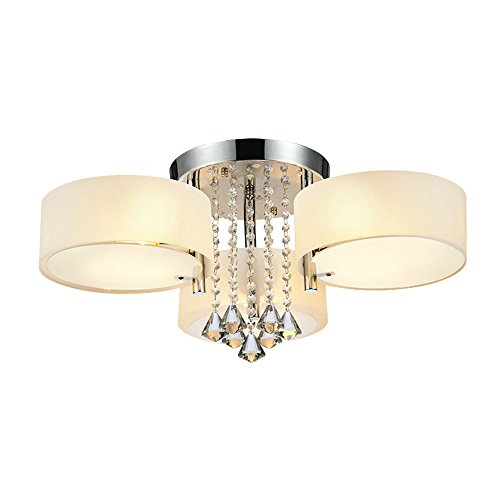 DINGGU Flush Mounted 3 Light Chrome Finish Modern Chandelier Ceiling Light Fixtures for Bedroom,Living Room,Dinng Room
