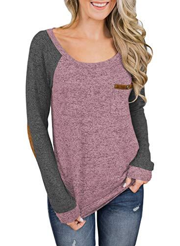 Asvivid Womens Crewneck Color Block Long Sleeve Ebow Patch Cottton T Shirt Loose Ladies Sweatshirt Tops S Color10