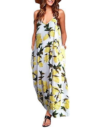 - Exlura Women Casual Boho Strappy Ethnic Lemon Prints Maxi Dress - White, X-Large