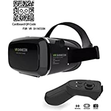 VR Headset KAMLE Virtual Reality Headset -for iPhone X/ 7/6s/6+/6/5, Samsung, Huawei, Google, Moto & All Android Smartphone With Magnetic Front Cover, Adjust Strap & With Remote Controller