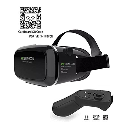 VR Headset, Virtual Reality Headset,VR Glasses,VR Goggles -for iPhone 7/ 7+/6s/6+/6/5, Samsung, Huawei, Google, Moto & All Android Smartphone With Magnetic Front Cover, Adjust Strap & Bluetooth - Virtual Glass
