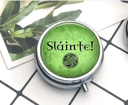Slainte! Irish Drinking Toast - Celtic Pendant Necklace - Celtic Jewelry - Slainte Jewelry Pill Box/Pill case-Round Pill Box/case- Three-Compartment Pill Box/Pill case Everyday Gift Key Chain