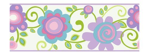 York Wallcoverings PW3953B Girl Power 2 Floral Scroll Border, White/Lilac/Blue by York Wallcoverings