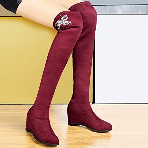 ZPFMM Stiefel Stiefel Overknees Hoch Keil Stiefel Schuhe Oberschenkel Damen Flache Hohe Stretch 7Bvprw7q