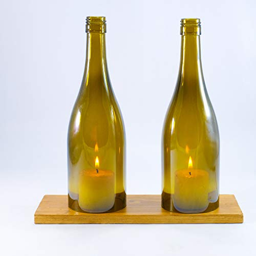 WINE BOTTLE LED Candle Stand - Cover - Holder Set with a Wooden base For Table decoration - Olive Green ()