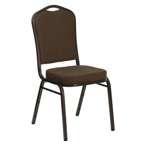 Flash Furniture FD-C01-GOLDVEIN-3169-GG HERCULES Series Crown Back Stacking Banquet Chair with Burgundy Fabric and 2.5'' Thick Seat - Gold Vein Frame