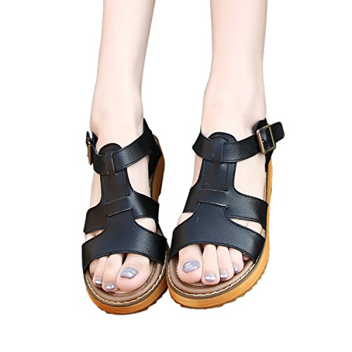 Smilun Femme Sandales T Forme Lanière Strappy Sandales Arrière Ouvert Sandales Compensées Noir ceXOJ