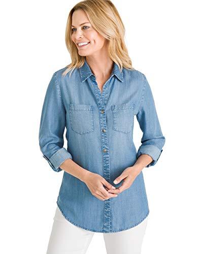 (Chico's Women's Half-Button Denim Shirt Size 12/14 L (2) Denim)
