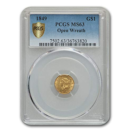 1849 $1 Liberty Head Gold Open Wreath MS-63 PCGS G$1 MS-63 PCGS