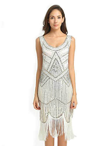 Deargles Women's 1920s Gastby Inspired Sequined Embellished Fringed Flapper Dress XPR001 White (Las Vegas Themed Prom)