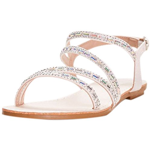 Asymmetric Strap Sandals With Crystal Details Style ATECHIE1, White, 7
