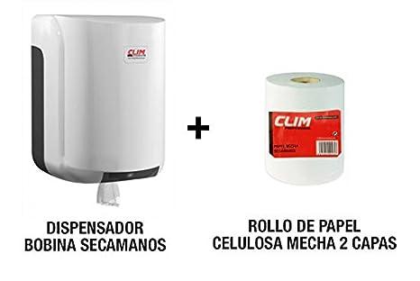 Pack dispensador de bobinas de papel secamanos más 1 rollo secamanos mecha adecuado para este dispensador
