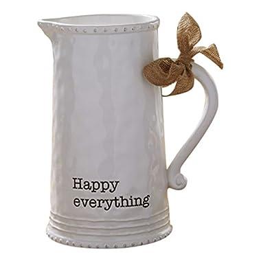 Mud Pie 4551001 Happy Ceramic Pitcher, White