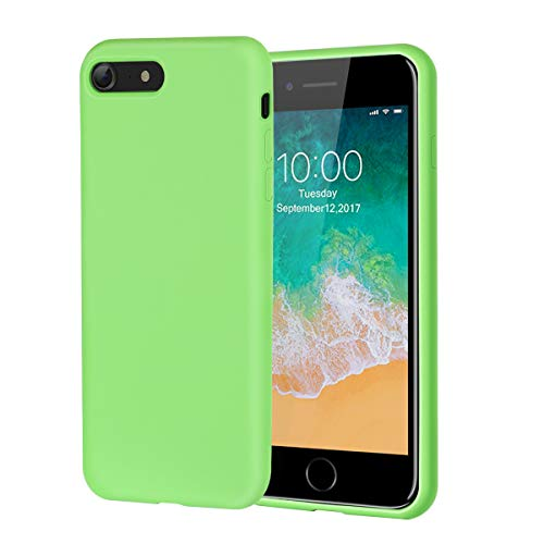 iPhone 8 Case,iPhone 7 Case,Soft Silicone Gel Rubber Case with Microfiber Lining Cushion and Tempered Glass Screen Protector Shockproof Full Body Protective Case for iPhone 8,iPhone 7 (Green)