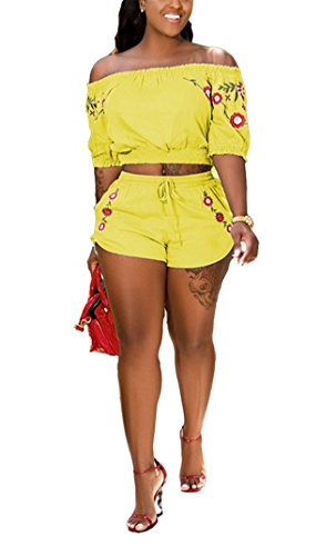 Womens Summer Two Pieces Outfits Bodycon Half Sleeve Floral Crop Tank Top Shirt Hot Pants Set Club Shorts Boho Maxi Party Club Dress Yellow XXL
