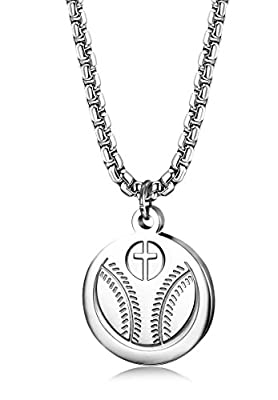 FIBO STEEL 3MM Stainless Steel Baseball Cross Necklaces for Men Women Faith Prayer Necklace Sport Medal Pendant Necklace 22 Inches
