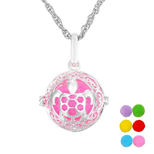 - VALYRIA Magic Box Aromatherapy Essential Oil Diffuser Necklace Filigree Hollow Turtle Locket Necklace