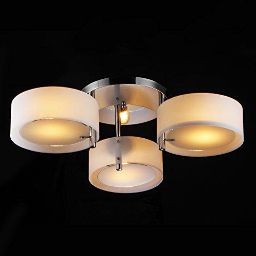 Y&L Modern Simple Style 3-Lights Chandelier Chrome Finish Flush Mount Ceiling Pendant Light for Dining Room, Bedroom, Living Room