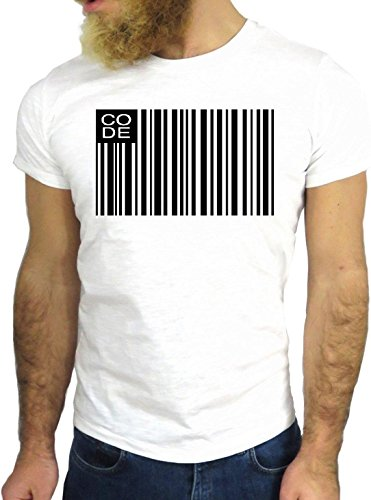 T SHIRT JODE Z1592 BAR CODE BLACK WHITE HIPSTER AMERICA COOL FASHION NICE GGG24 BIANCA - WHITE S