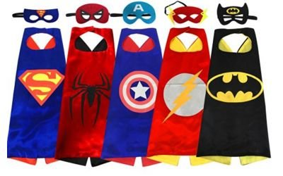 B-HERO Superhero Capes Set with Masks (Set of 5) - Cartoon Comic Book Heroes Roleplay Costumes for Kids -Boys and Girls Birthday Party Supplies - including three sheets of super-hero stickers