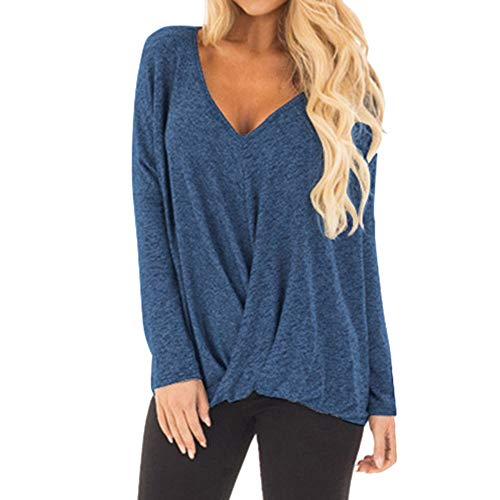 (Women's Tops Ruched Cross-Front V Neck Long Sleeve Loose Irregular Hem Pure Color Slim Blouse Tunic by Dainzuy)
