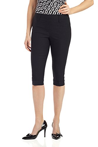 - Rekucci Women's Ease in to Comfort Stretchy Slim Fit Capri with Cuff Detail (4,Black)