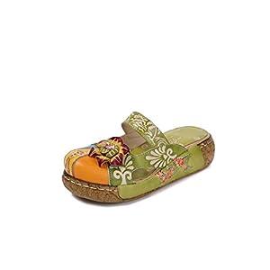 Sandali Estive Donna, Popoti Sandali Zeppa Ciabatte in Pelle Pantofole Mocassini Pompe Boemia Fiore Eleganti Slip-On… 3 spesavip